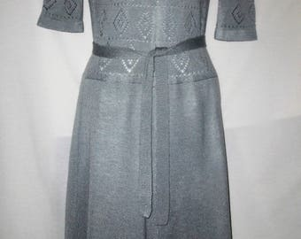 Gray Vintage 70's 1/2 Sleeve Knit Short Dress Sz Sm