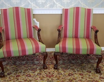 Pair Martha Washington Mahogany Chippendale Style Southwood Furniture Gainsborough Armchairs