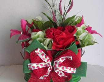 Watermelon Themed Silk Flower Arrangement in Metal Printed Pail, featuring a Drink Umbrella and a Handmade Bow