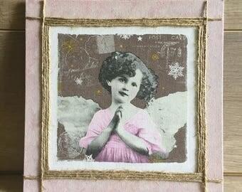 """Little angel girl"" frame for little girls room - pink and rope"