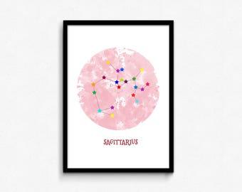 Sagittarius art, Sagittarius constellation print, Nursery wall art, Printable wall decor, Sagittarius star sign, Zodiac art Sagittarius gift