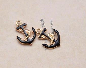 10 black anchor charms charm pendant pendants  (Z08)