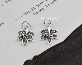 2 pcs sterling silver maple leaf charm pendant , P1