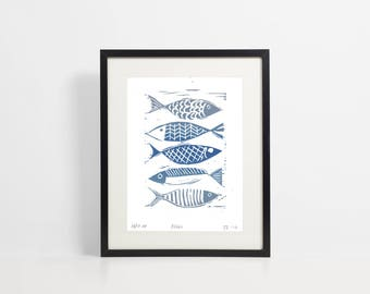 Linocut print - blue fish - seaside print - bathroom art -  wall art - relief print - original hand pulled print by Design Smith