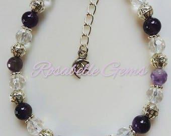 Amethyst Bracelet, Amethyst, Bracelet, February Birthstone, Birthday Present, Valentines Gift, Birthstone Bracelet, Birthstone, Crown Chakra