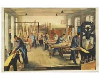 """Austrian School, Teaching Chart, Poster """"Carpentry"""""""