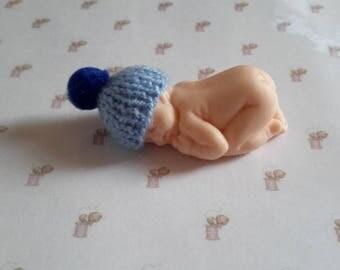 Miniature baby bonnet in handmade fimo knit tassel