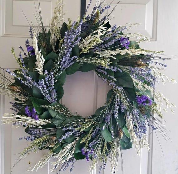 Reserved for Sofia= Lavender wreath, lemon leaf wreath, custom sizes, preserved wreath, natural wreath, salal wreath, indoor wreath