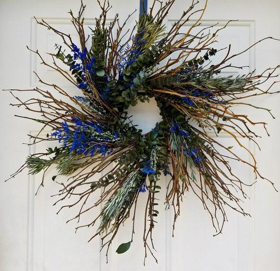 """twig wreath, 18 """" wreath, dried wreath, blue wreath, decorative wreath, natural wreath. dried flower wreath, dried wreath, small wreath"""