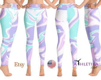 Liquid Marble Print - Yoga Leggings - Yoga Pants - High Waisted Leggings - Yoga Tights - Dance Wear - Yoga Clothing - Dance Leggings