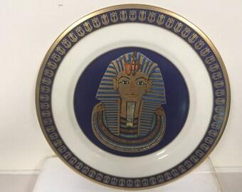 "1977 Treasures of Tutankhamun Plate Gorham ""The Mask of Tutankhamum"" 10.75"" L.E. Collector's Plate w/ Box"