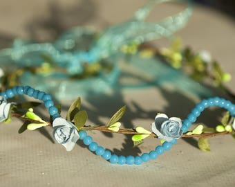 Blue flower Crown beaded front