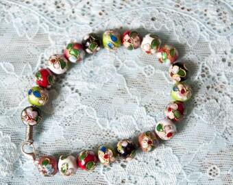 Shamballa bracelet made on basis of cloisonne beads