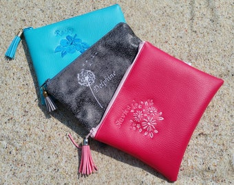 Clutch faux leatherette 18 x 13, clutch, Center pocket, Pocket MOM clutch purse, embroidered, personalized