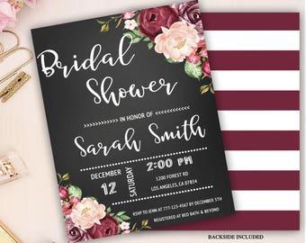 floral bridal shower invitation, chalkboard bridal shower, marsala bridal shower invite, burgundy bridal shower invitation, bridal brunch