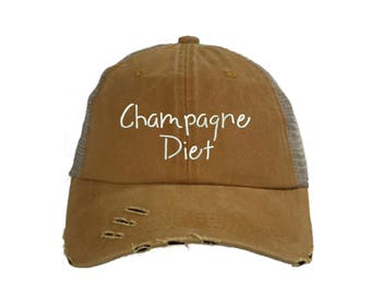 CHAMPAGNE DIET Trucker Dad Hat, Embroidered Ethanol Drinking Hat, Low Profile Sparkling Wine Cap Hats, Many Colors