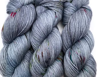 "Hand Dyed Yarn ""Work Jeans"" Blue Grey Green Pink Brown Speckled BFL Nylon Fingering Superwash 408yds 115g"