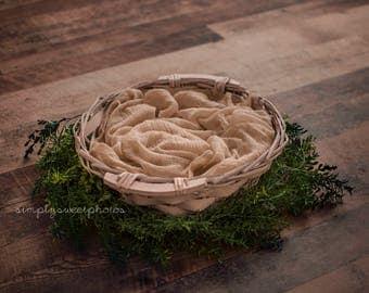 Rustic Basket Newborn Digital Backdrop