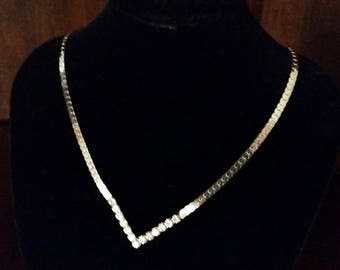 Silver Tone Necklace with Rhinestones