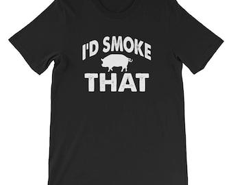 I'd Smoke That Pig Funny BBQ Novelty T-Shirt