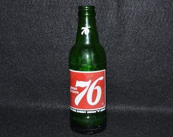 Vintage Green 76 Soda Bottle, 76 Pop Bottle, Collectible Sodapop Bottles, Green Glass Bottle, 7Up Sprite Coke Bottle, Collectible Glass