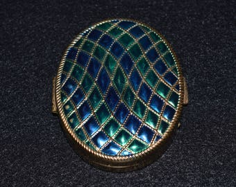Vintage Avon Compact, Oval Blue and Green Makeup Mirror, 1960s Compact, Avon Collectibles, Enamel Compact Travel Mirror, Metal Jewelry Case