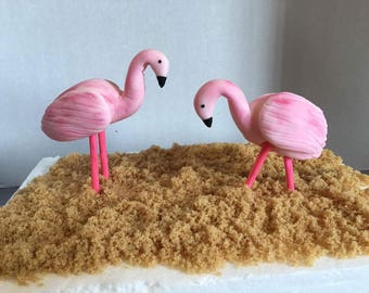 Fondant flamingo cake topper set of 2
