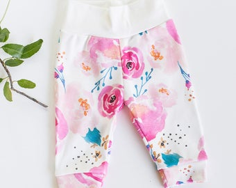 Baby Girl Organic Cotton Joggers, Size 0-3 months, Punchy Florals, Pink Watercolor, baby shower gift, baby clothes