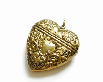 Vintage Victorian revival Large Brass Repousse Heart locket box| Heart Locket