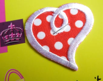 Patch for ironing, sewing, pasting with a red heart and white dots
