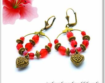 Hoop earrings earrings bronze with Red Crystal beads Art.Nr.: CRE-BRO-001