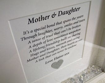 Mother and daughter, keepsake gift mum, Mother's Day frame, daughter mother gift, personalised mum, gift to daughter, newborn gift for mum.