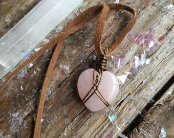 New! Gift for her // Handmade Jewelry // Cut & Polished Heart Shaped Rose Quartz Talisman in vintage brass // crystal pendant // heady wrap