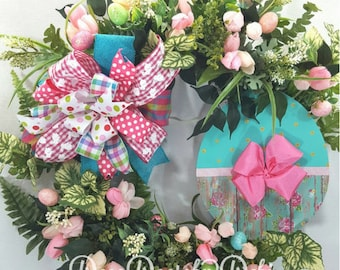 Easter floral grapevine wreath with pink and turquoise hand painted egg sign. Pink and turquoise Easter grapevine floral wreath, Easter deor