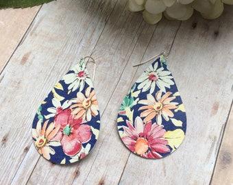 Teardrop leather earrings, floral leather teardrop earrings, blue floral leather earrings