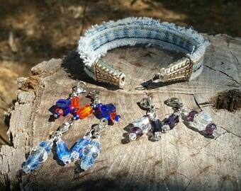 Frayed Denim Bracelet with Three Charm Sets