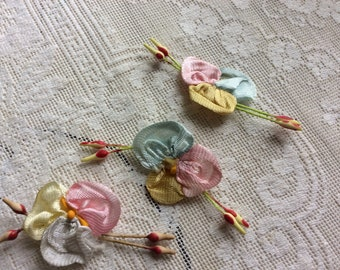 Vintage Silk Ribbon Work Flowers with Stamens Lot of 3, Salvage