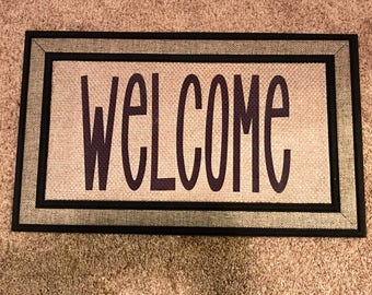 Gray Outdoor Welcome Mat- Front Door Mat - Personalized Door Mat