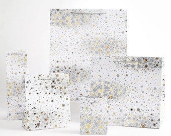 60% OFF Winter Wonderland with Stars Gift Bags   christmas gift wrap   holiday   gift bags   gift wrapping  