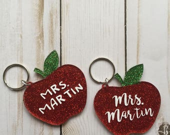 Personalized Apple Keychain ~ Personalized Teacher Gift ~ Glitter Keychain ~ Teacher Appreciation Gift