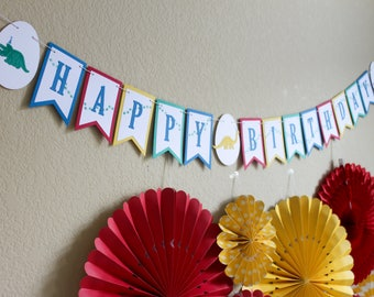 Dinosaur Birthday Banner / Dinosaur Party / Dinosaur Banner / Happy Birthday Banner / Dino Party Banner