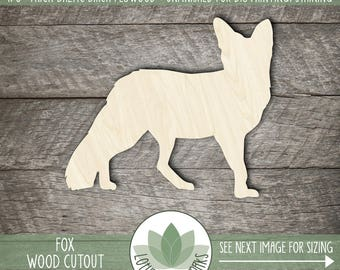 Fox Wood Cut Shape, Unfinished Wood Fox Laser Cut Shape, DIY Craft Supply, Many Size Options