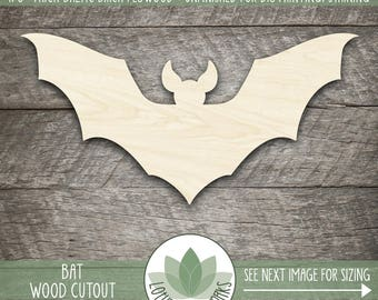 Bat Laser Cut Wood Shape, Halloween Bat, DIY Halloween Craft Supplies, Halloween Decor, Wood Bat Cut Out Shape