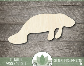 Manatee Laser Cut Wood Shape, Wooden Manatee Cutout, Unfinished Wood For DIY Projects, Manatee Party Decoration, Manatee Party Favor