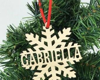 Snowflake Ornament, Name Ornament, Custom Xmas, Snowflake Wood, Custom Ornament, Family ornament, Name ornament, Rustic Ornament