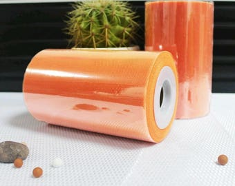 Tulle roll high quality Orange clear 15 cm x 82 m for tutu and decoration.