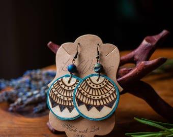 Turquoise Druzy Mandala Earrings