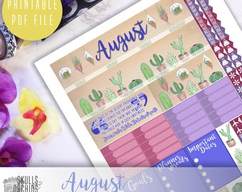 50% OFF! ERIN CONDREN August Monthly View Kit – Printable Planner Stickers