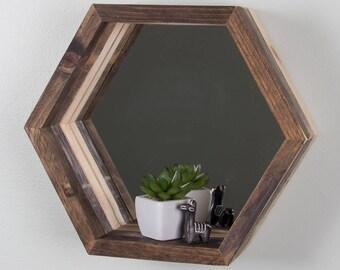 Geometric Hexagon Shelf - Reclaimed Wood, Mirrored, Tri-toned