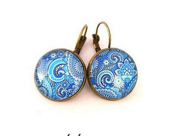 Blue earrings, paisley, Paisley, bronze charm, glass cabochon, gift for her